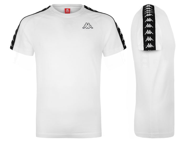 Kappa T-shirt 222  Banda Coen Slim White/Black